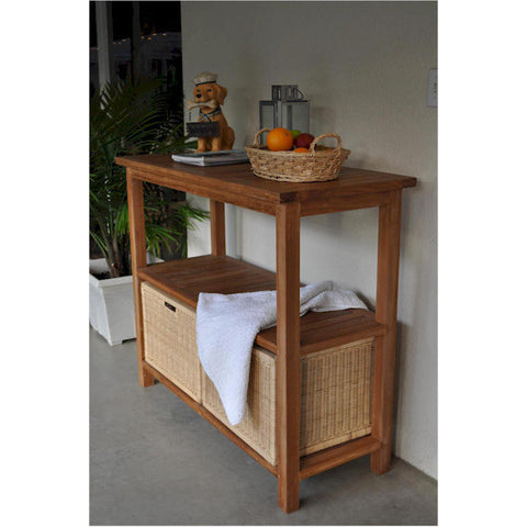 Anderson Teak Towel Console Table With 4 Wicker Baskets