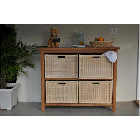 Anderson Teak Towel Console Table with 4-Wicker Baskets - American Teak