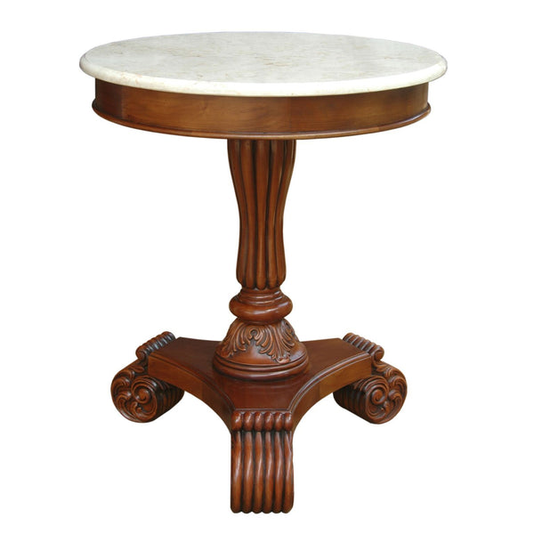 Bella Mahogany Side Table w/ Marble Top - American Teak
