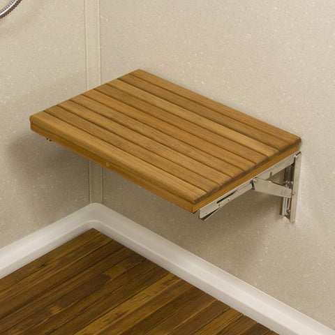 Teakworks4u Wall Mount Fold Down Shower Bench - American Teak