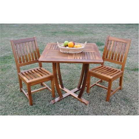 Anderson Teak 3 Piece Rialto Bistro Set W/ Teak Oil Finish SET-210 - American Teak