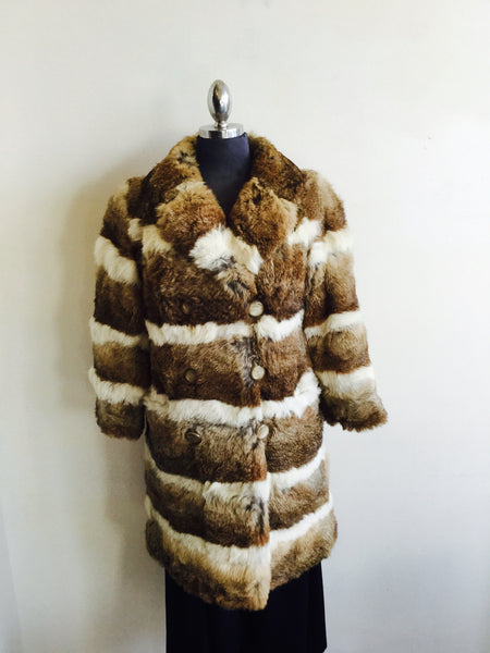 Long striped rabbit fur coat