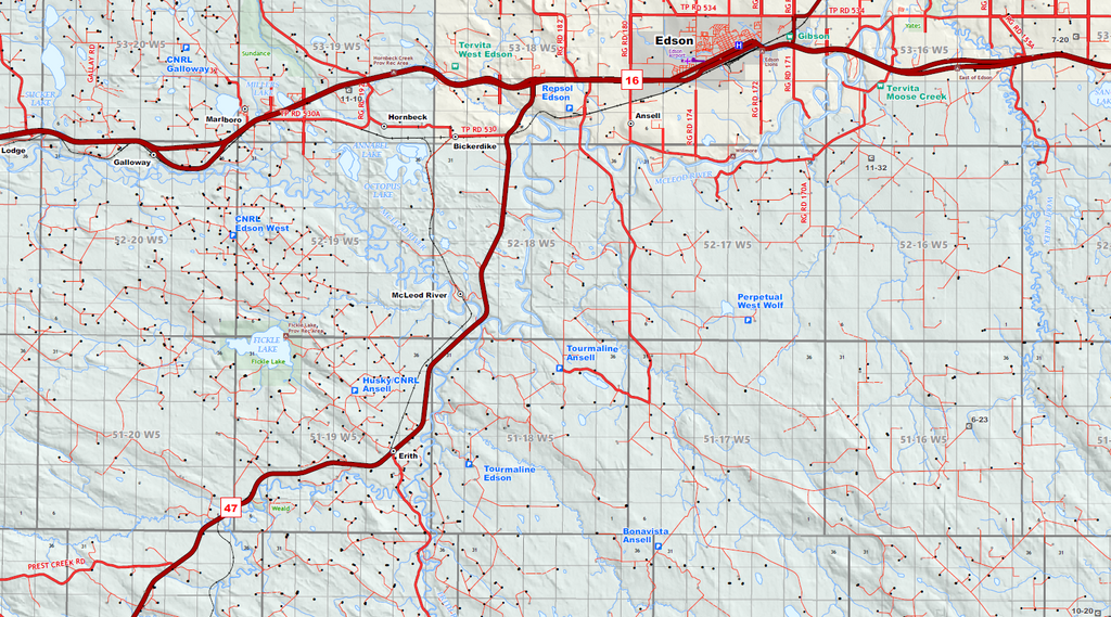 "Drayton Valley Oilfield Wall Map - 60""W x 42""H"