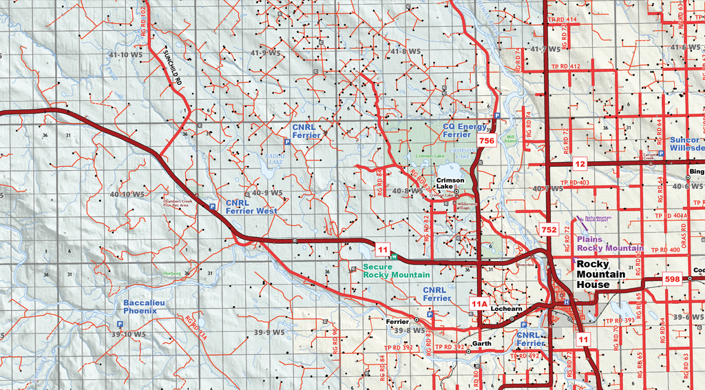 "Drayton Valley Oilfield Map - 39""W x 27""H"