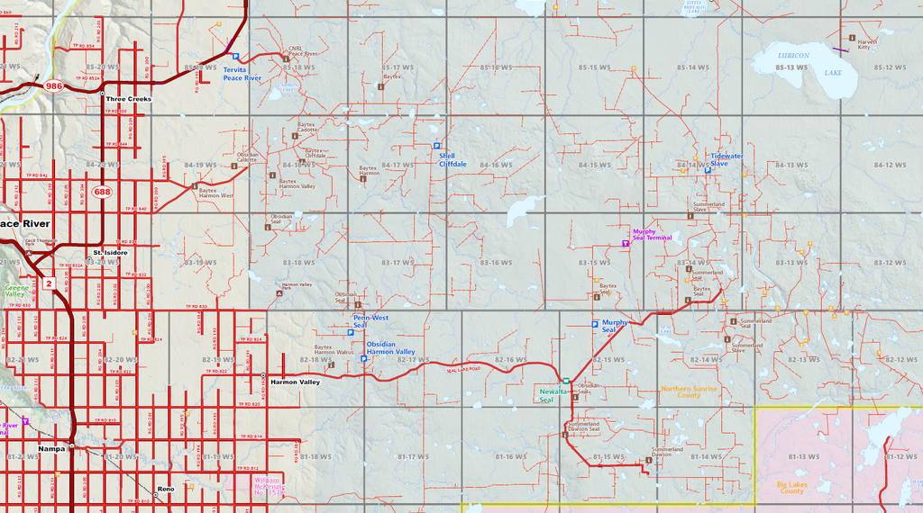 "Peace Region Oilfield Wall Map - 70""W x 65""H"