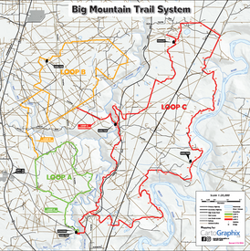 "Big Mountain Trail System Map - 36""W x 36""H"