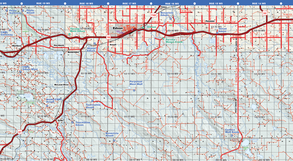 "Drayton Valley West Oilfield Road Map (Folded) - 4""W x 9""H"