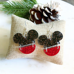 Mickey Split Earring / Black-Red Glitter