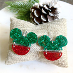 Mickey Split Earring / Green-Red Glitter