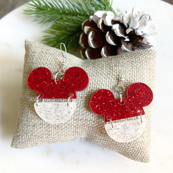 Mickey Split Earring / Red-White Glitter