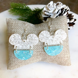 Mickey Split Earring / White - Ice Blue Glitter