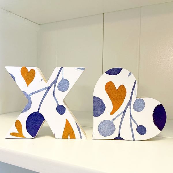 Home Line - XO - Blue + Mustard Hearts