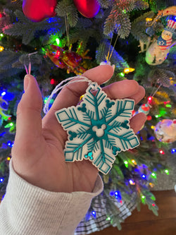 Teal Snowflake Mickey Ornament