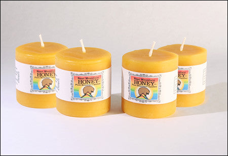Small Natural Beeswax Pillar Candles