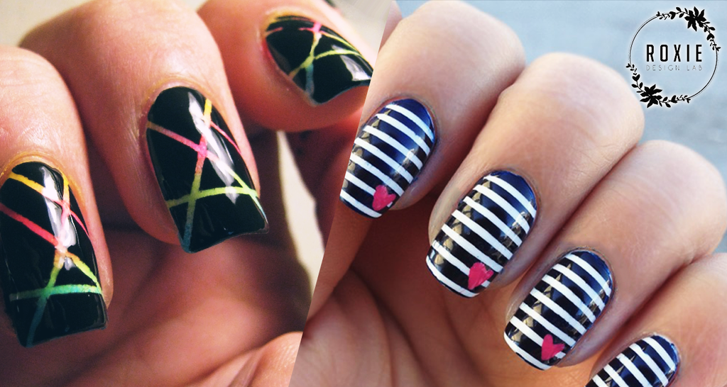 5 Easy Nail Designs You Can Do With Scotch Tape Roxie Design Lab
