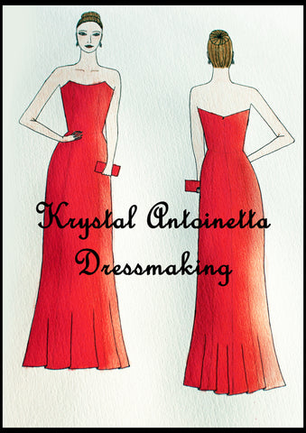 Strapless coral fitted ball dress design