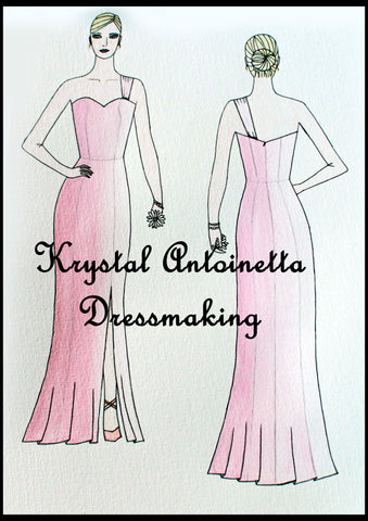 Soft pink one-strap fitted ball dress with a side-front skirt split