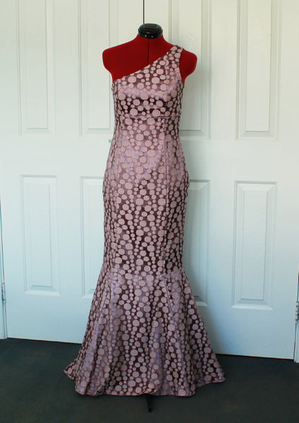 Pink one shoulder mermaid ball dress front
