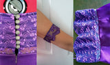 purple strapless lace ball dress design features