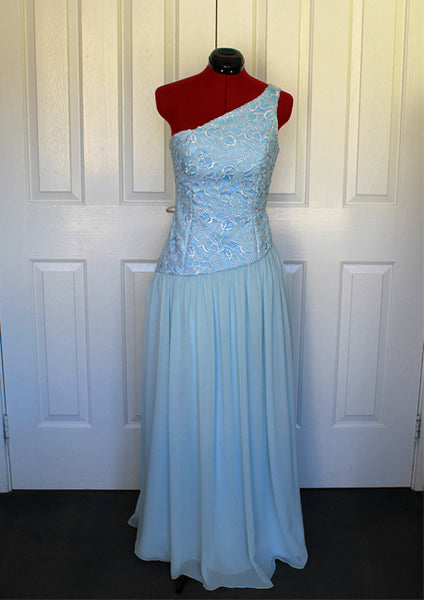 light blue asymetrical lace and chiffon ball dress front