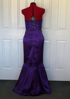 Purple strapless lace mermaid ball dress back