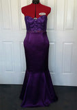 purple strapless lace mermaid ball dress front