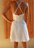 White lace halterneck cotton sundress back