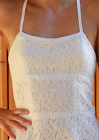 White lace halterneck cotton sundress close up front