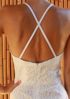 White lace halterneck cotton sundress close up back