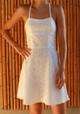 White lace halterneck cotton sundress front