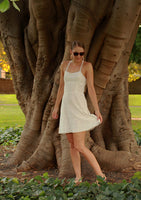 White lace halterneck cotton sundress front outside