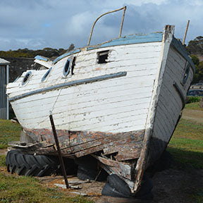 Abandoned boat on Kangaroo Island fabric panel