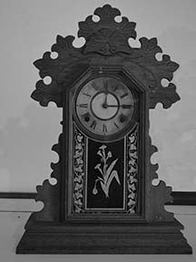 Black & White Mantel Clock Fabric Panel
