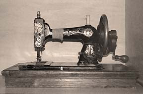 Crank Handle sewing machine in sepia