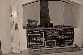 wood stove in sepia