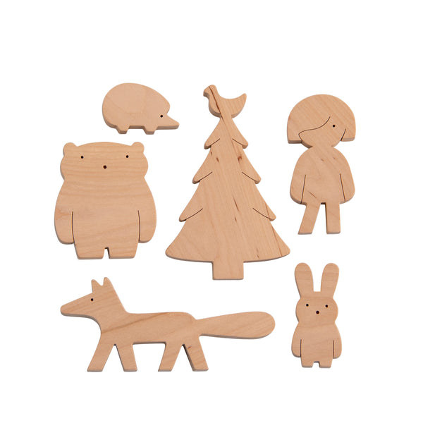 Mielasiela Wooden Toy Set Girl and Forrest Friends Holzspielzeug bei Yay Kids