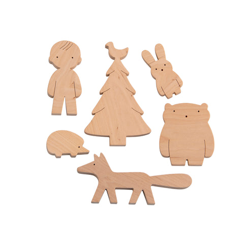 Mielasiela Wooden Toy Set Boy and Forrest Friends Holzspielzeug bei Yay Kids