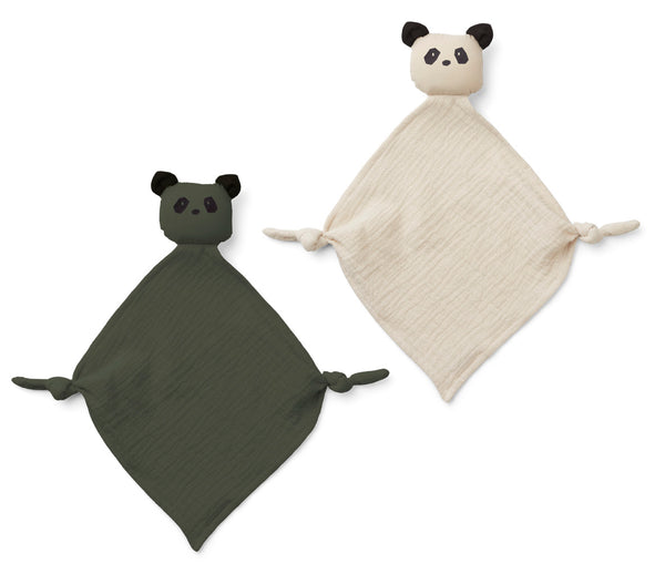 Liewood Baby Kuscheltuch Set Yoko Panda sandy hunter green bei Yay Kids