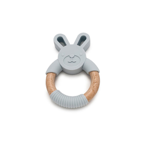 Loulou LOLLIPOP Beissring Bunny Light Grey aus Silikon und Holz bei Yay Kids