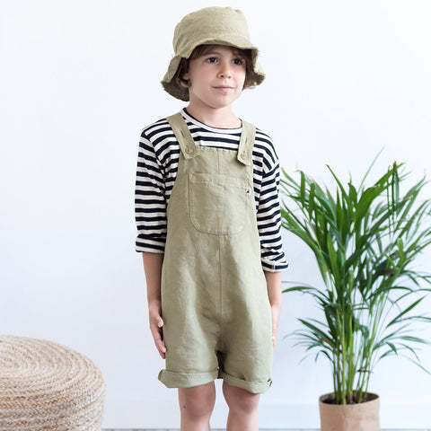 My Little Cozmo kurze Kinder Latzhose Khaki bei Yay Kids