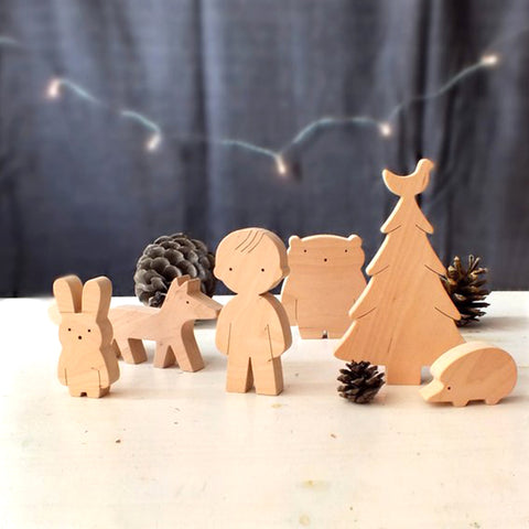 Wooden Toy Set Boy and Forrest Friends