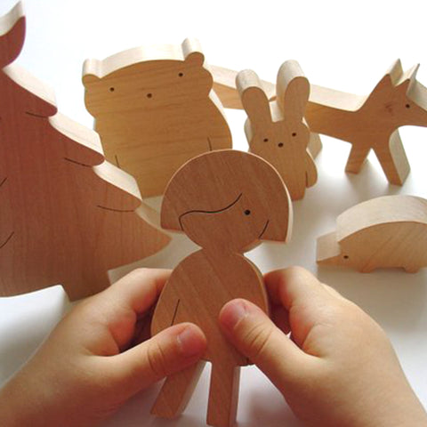 Wooden Toy Set Girl and Forrest Friends