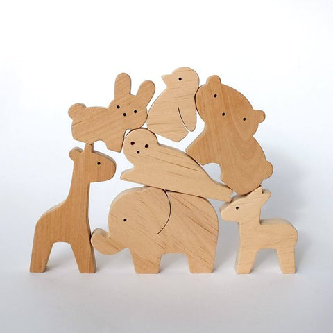 Wooden Toy Set Baby Wild Animals