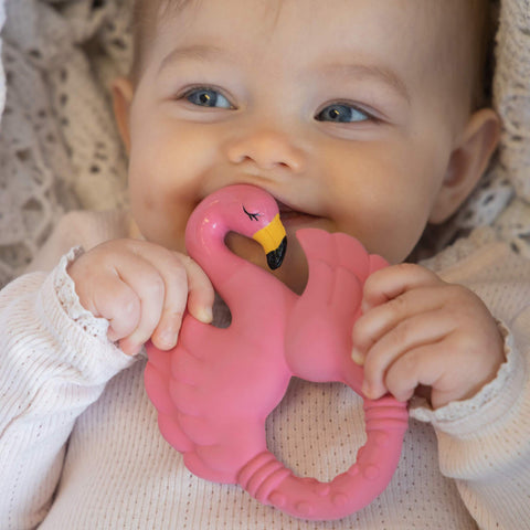 Natural Rubber Teether Flamingo