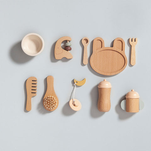 Petit Monkey Kinder Holz Baby Feeding Set bei Yay Kids