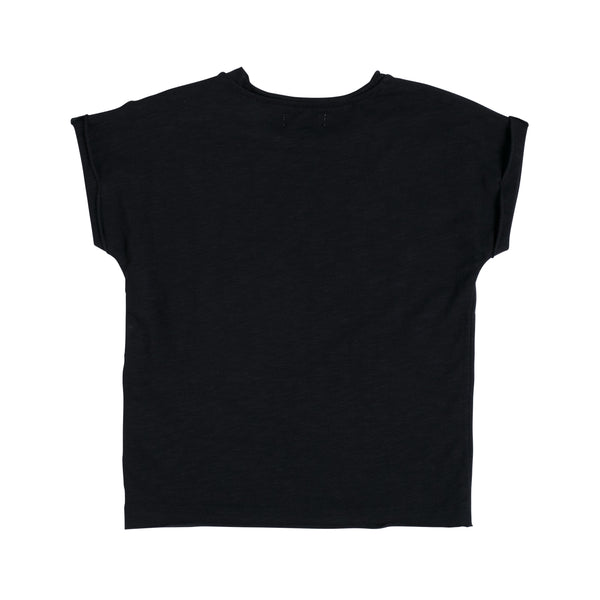 Kinder T-Shirt Raw Cut Black von Nixnut bei Yay Kids hinten
