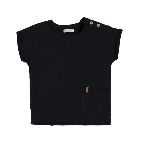 Kinder T-Shirt Raw Cut Black von Nixnut bei Yay Kids
