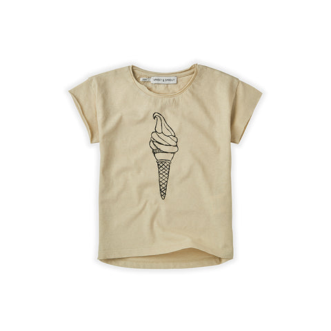 Sproet & Sprout Kinder Leinen T-Shirt Beige Ice Cream bei Yay Kids