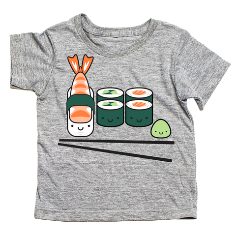 Whistle & Flute Kinder T-Shirt Kawaii Sushi Grau bei Yay Kids