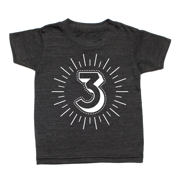 Whistle & Flute Kinder T-Shirt Milestone Numbers 3 Jahre bei Yay Kids